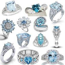 925 Silver Aquamarine Wedding Proposal Ring Engagement Luxurious Jewelry #5-12