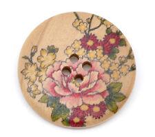 El botón del grano y Caja-Madera Botones De Diseño De Flor Rosa 30mm