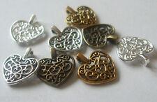 100 x love coeur filigrane Charms 17x15mm choisir bronze, or, argent ou antique