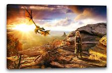 Lein-Wand-Bild: Game of Thrones Daenerys Targaryen Drache Fantasy-Landschaft