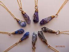 Genuine Natural Quartz Crystal Druzy Stone Pendant Gold Plated Necklace