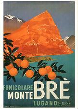 Monte Bre , Lugano, Suisse Affiches de Voyages Vintage A1,A2,A3,A4 Tailles