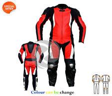 rouge Moto VÊTEMENTS MOTO COURSE CUIR costume en rouge et noir un ou deux pièce
