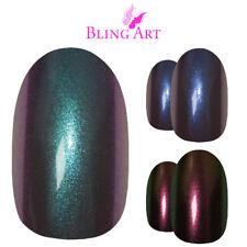 Bling Art Oval False Nails Blue Green Purple Chameleon Colour Fake Medium Tips