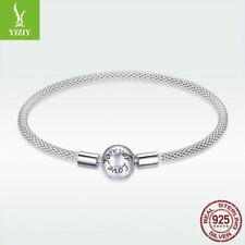 925 Sterling Silver Charm Bracelet Snake Chain Pretty Women Forever Love Jewelry