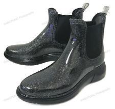 Women's Short Rain Boots Ankle Glitter Elastic Waterproof Garden Chelsea Booties