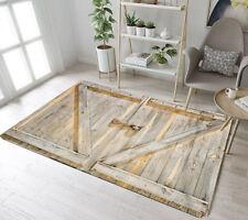 Locked Rustic Plank Barn Door Floor Rug Mat Bedroom Carpet Living Room Area Rugs