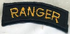 Early Vietnam Era US Army Ranger Tab Patch Cut Edge Yellow on Black