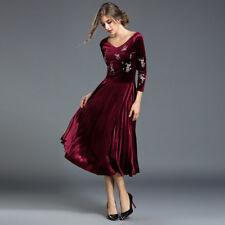 Elegante vestito abito lungo donna rosso velluto scampanato slim morbido  4145 06ecea1aade