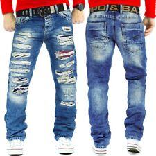 Cipo & Baxx Herren Jeans Mens Pants Freizeit Hose Clubwear Destroyed mit Gürtel
