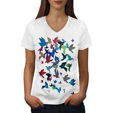 Origami Bird Art Women V-Neck T-shirt NEW | Wellcoda