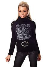 Rollkragen Pullover mit Tiger Print Einheitsgröße Hüftlang rot schwarz grau NEU