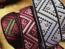 """VINTAGE Renaissance SCA Cotton CELTIC Deco 1 5/8"""" Embroidered Jacquard Trim 1yd"""