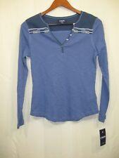 NWT Chaps by Ralph Lauren Women's Blue Knit Henley Top