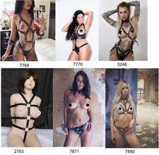 Womens Black Leather Body Chest Harness Bra Cage Dress Restraint Bondage Belt UK
