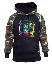 Men's Neon Space Cat Camo/Black Raglan Hoodie Fantasy Galaxy Kitten Rave Party