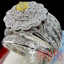 Real White Gold Silver Ladies 3Pc Wedding Ring Engagement Band Set Lab Diamond