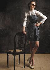 Damenkleid Bandeaukleid Damen Bandeau Kleid Minikleid Lederlook Schwarz 40 L