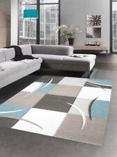 Design rug carpet karo pastel blue cream taupe