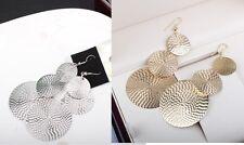 Círculo de color oro o plata grande/Redondo Colgante/Pendientes. cierre de gancho.