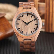 Handmade Natural Wood Men Fashion Quartz Wrist Watch Accessory  Bangle Band Gift