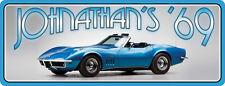 Blue & Chrome 1969 Corvette Stingray Personalized Sign C1284