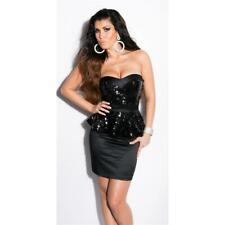 Glamour Satin ROBE DE SOIREE AVEC schösschen et paillettes Noir #ak1262