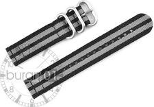 Uhrenarmband Wasserfest CUT Nylon Strong grau-schwarz gestreift 26mm,24mm 22mm