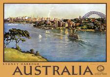 TR22 Vintage Australian Sydney Harbour Australia Travel Poster Re-Print A4