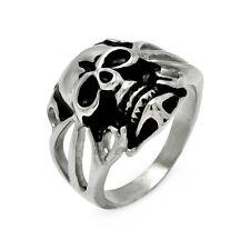 Stainless Steel Open Band Skull Head Center Biker Ring