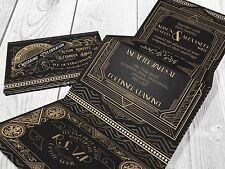 Personalised HANDMADE Gatsby Wedding Day Invites Evening Invitations + Envelope