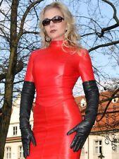 Leder Top Ledertop Rot Zipper Langarm Größe 32 - 58 XS - XXXL