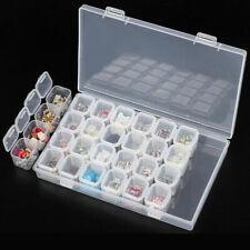 28 Slots Space Nail Art Tips Deco Gems Rhinestone Storage Clear Empty Box Case