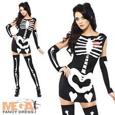 Glow In Dark Skeleton Ladies Halloween Party Fancy Dress Womens Adult Costume