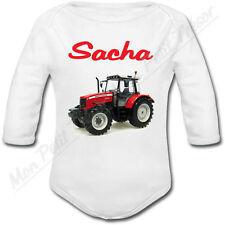 Body Bébé Tracteur Rouge avec prénom ou texte personnalisé