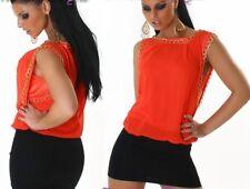 Miss Sexy Donna Chiffon Mini Abito CATENA DRESS S/M 34/36 Arancione Nero Oro Nuovo