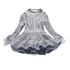 Toddler Girls Warm Dresses Princess Knitted Spring Autumn Sweater TuTu Dress