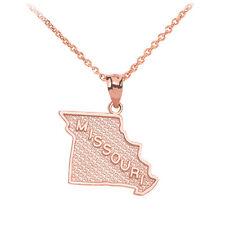 10k Rose Gold Missouri State Map United States Pendant Necklace