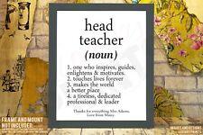 Head Teacher School Noun Gift Present Keepsake Canvas Memory Personalised
