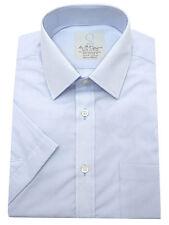 New Ex M&S Mens Poly Cotton Assort Blue Short Sleeve Office Shirt Size 14.5-18.5