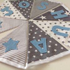 PERSONALISED BUNTING BABY BOY GREY/BLUE £1.80 PER FLAG NURSERY/BIRTHDAY/BEDROOM