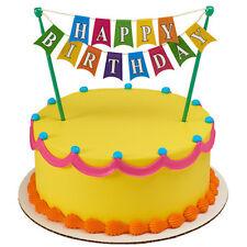Happy Birthday Banner Cake Topper Decoration