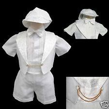 New Born Baby Boy Infant Christening Baptism Formal Tuxedo Suit White 0-5(0-30M)