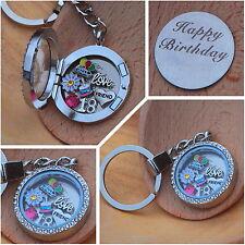 Personalised Happy Birthday Floating Memory Locket keyring -18th 30th 40th 50th