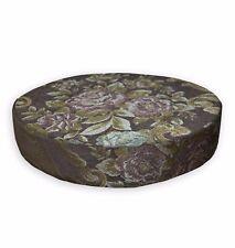 We503r Dark Brown Damask Chenille 3D Round Box Shape Sofa Seat Cushion Cover
