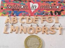 ciondoli charms lettere dell'alfabeto in argento 925 placcato oro rosè italy uvz