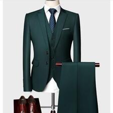 Dress Formal Suit Men Business Slim Fit Lapel Two Button Work Blazers Pants Vest