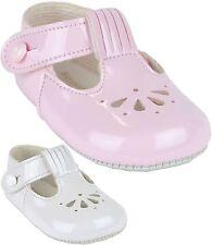babyprem bebé niña Clásico FAN Barra T Patucos Zapatos de cochecito blanco con