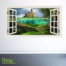 Castello delle favole Finestra Wall Sticker Full Colour-Ragazzi Ragazze Wall Art c371