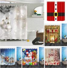 US Fabric Shower Curtain Set Christmas Ball Santa Claus Bathroom Decor Hooks